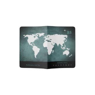 white worldmap travel passport cover with name