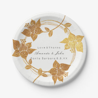 White Wreath Wedding Gold Floral Thank You Name Paper Plate