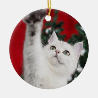 White XMAS Cat Ceramic Ornament