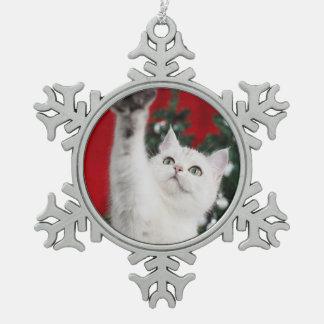 White XMAS Cat Snowflake Pewter Christmas Ornament
