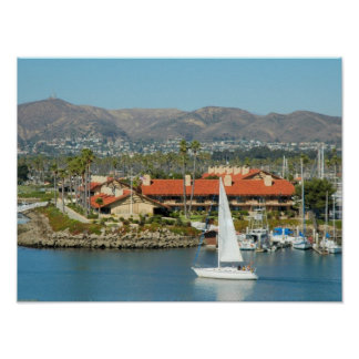 White Yacht and Mountains Poster
