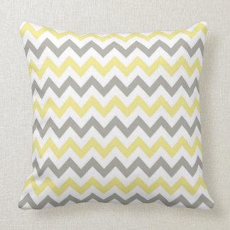 White, Yellow and Gray chevron design throw pillow