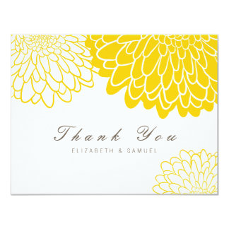 White Yellow Chrysanthemum Wedding Thank You Card