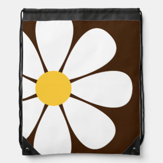White & Yellow Daisy Flower on Brown Cinch Bags