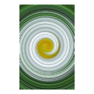 White, yellow, green spiral pattern stationery design