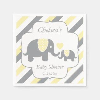 White, Yellow & Grey Stripe Elephants Baby Shower Paper Serviettes