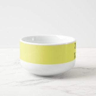 White/yellow soup mug for vegetarian and vegan