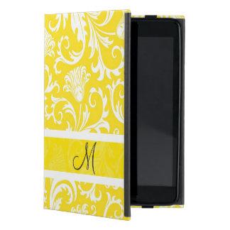 White & Yellow Vintage Floral Damasks Monogram iPad Mini Case