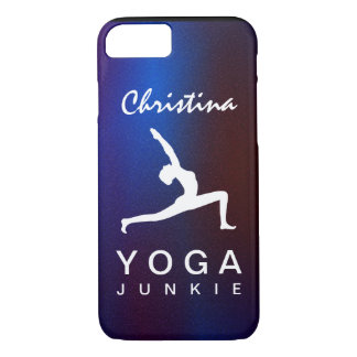 White Yoga Pose Silhouette Blue Background Slim iPhone 8/7 Case