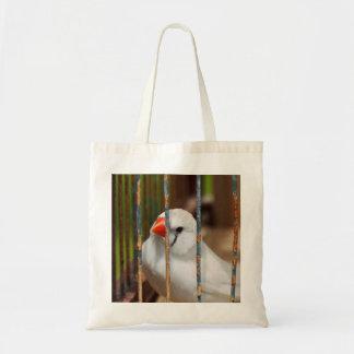 White Zebra Finch Bird in Cage Tote Bag