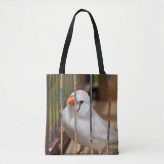 White Zebra Finch Bird in Cage Tote Bag
