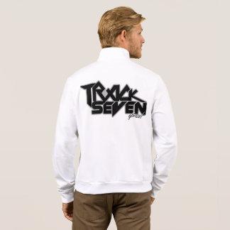White Zip Up Men's Track Seven Band Fleece Zip Jacket