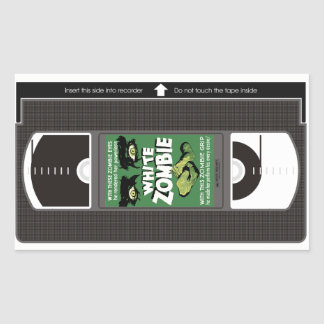 White Zombie VHS Rectangular Sticker