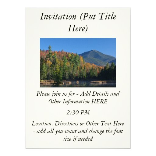 Whiteface Mountain over Little Cherrypatch Pond Personalized Invitation