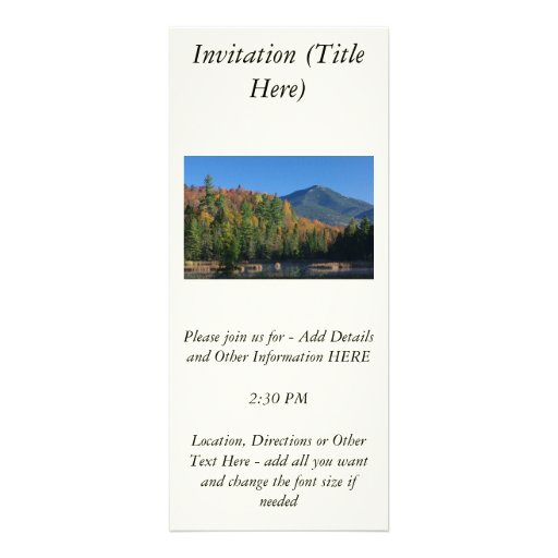Whiteface Mountain over Little Cherrypatch Pond Custom Invitation