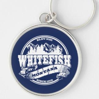 Whitefish Old Circle White Key Ring