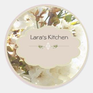 whiteflower spice jar labels round sticker