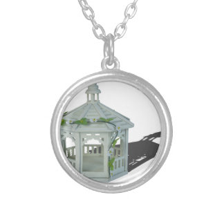 WhiteGazeboVineFlowers122814 Silver Plated Necklace