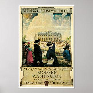 Whitehouse Washington DC Vintage Travel Poster