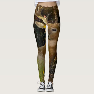 Whitetail Buck Acrylic Artisan Paint Leggings