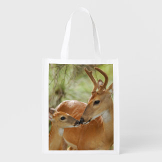 Whitetail Buck And Fawn Bonding Reusable Grocery Bag