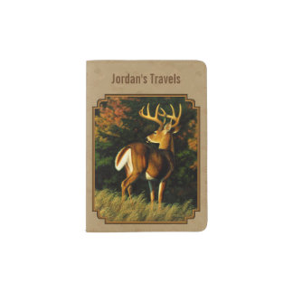 Whitetail Buck Deer Hunting Tan Passport Holder