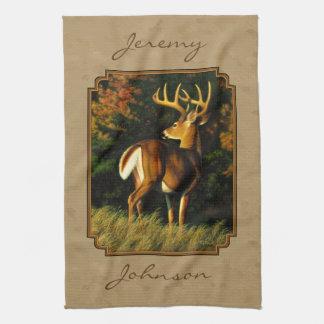 Whitetail Buck Deer Hunting Tan Tea Towel