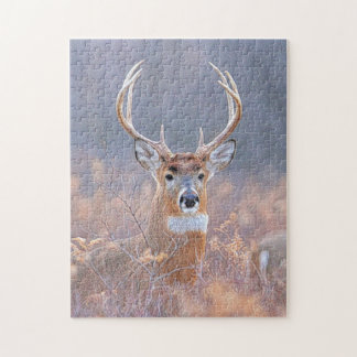 Whitetail Buck in Field Landscape Painting Puzzles