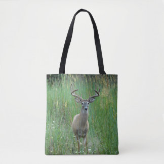 Whitetail Buck in Meadow Printed Tote Bag