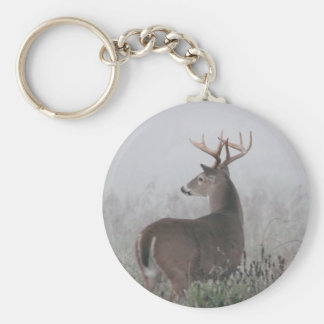 Whitetail Buck in morning fog Key Ring