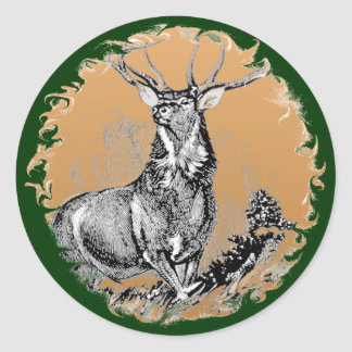 Whitetail Buck Woodblock Illustration Classic Round Sticker