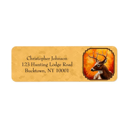 Whitetail Deer Autumn Gold Return Address Label