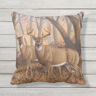 Whitetail Deer Buck & Doe Autumn Maple Woods Cushion