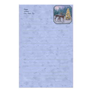 Whitetail Deer & Christmas Tree Stationery Design