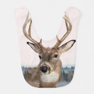 Whitetail Deer Double Exposure Baby Bib