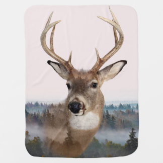 Whitetail Deer Double Exposure Baby Blanket