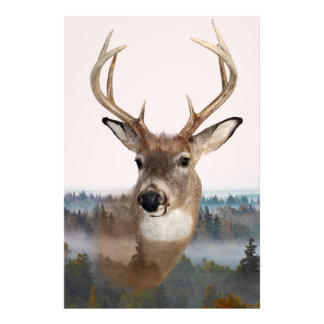 Whitetail Deer Double Exposure Photo Print
