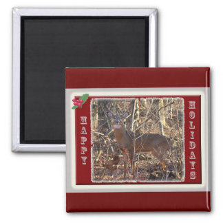 Whitetail Deer Happy Holidays Items Fridge Magnets