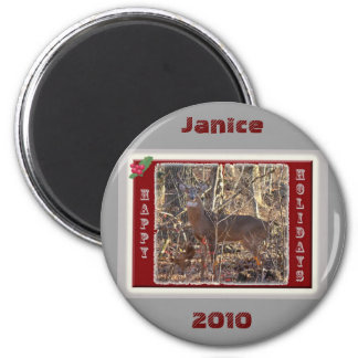 Whitetail Deer Happy Holidays Items 6 Cm Round Magnet