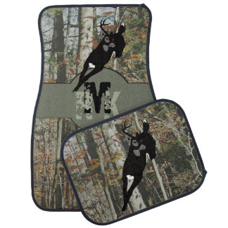 Whitetail Deer Hunters Woodland Camo with Monogram Floor Mat