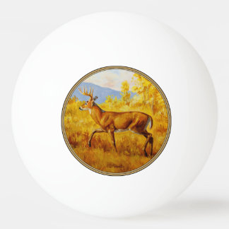 Whitetail Deer in Autumn Aspen Forest Ping Pong Ball