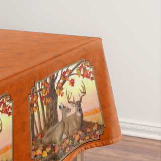 Whitetail Deer Maple Tree Autumn Orange Tablecloth