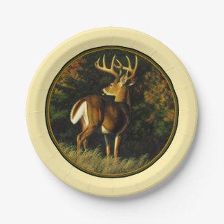 Whitetail Deer Monster Buck Yellow Paper Plate