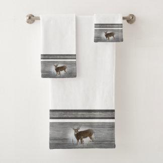 Whitetail Deer Rustic Design Bath Towel Set