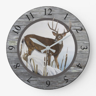 Whitetail Deer Rustic Design Large Clock