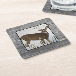 Whitetail Deer Rustic Design Square Paper Coaster