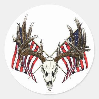 Whitetail deer skull 1 round sticker