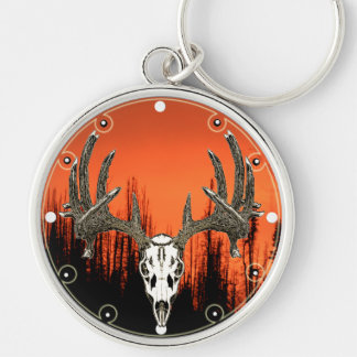 Whitetail deer skull Silver-Colored round key ring
