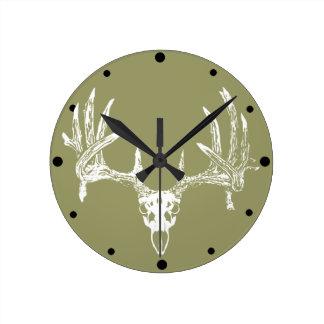 Whitetail deer skull w clocks
