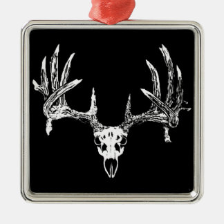 Whitetail deer skull w Silver-Colored square decoration